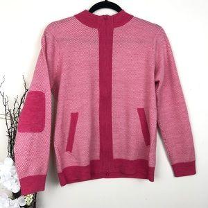 Peter Millar merino wool sweater elbow patch pink
